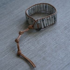 Jewelry - Marble Brown Leather Bracelet